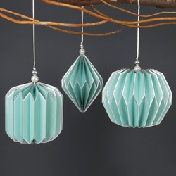 Set of 3 Geometric Paper Hanging Decorations in Teal