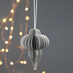Small Slim Drop Honeycomb Paper Decoration in Silver