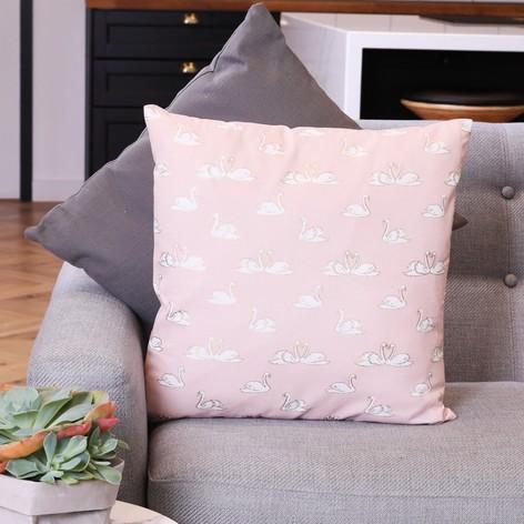Elegant Swan Print Cotton Cushion