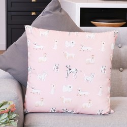 Illustrated Dogs Cotton Cushion
