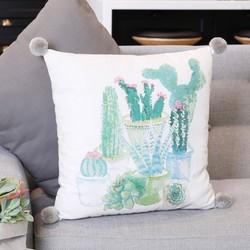 Watercolour Cactus Pom Pom Cotton Cushion