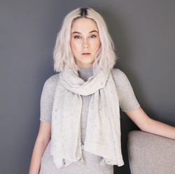 Gold Foil Moon and Stars Scarf in Grey