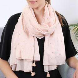 Gold Foil Moon and Stars Scarf in Pink