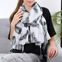 Monochrome Pineapples Scarf