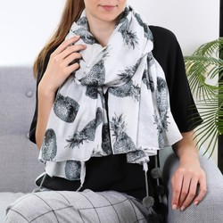 Monochrome Pineapples Pom Pom Scarf