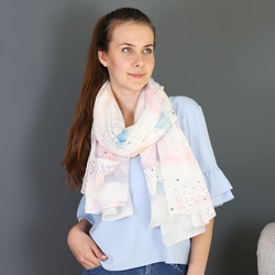 Starry Nights Watercolour Cloud Cotton Scarf