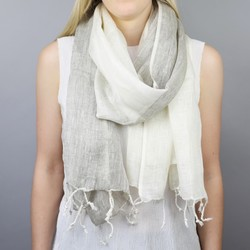 Two Tone Handwoven Linen Scarf in Natural