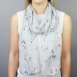 Watercolour Cats Silk Skinny Scarf