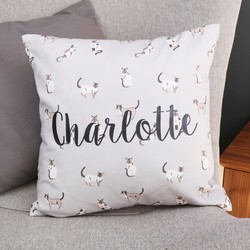 Personalised Illustrated Cats Cotton Cushion