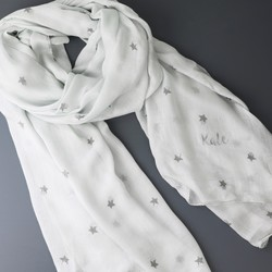 Personalised Metallic Double Star Scarf