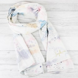 Personalised Starry Nights Watercolour Cloud Cotton Scarf