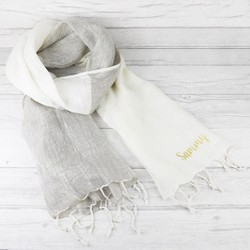 Personalised Two Tone Handwoven Linen Scarf in Natural