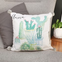 Personalised Watercolour Cactus Pom Pom Cotton Cushion