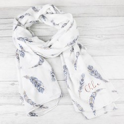 Personalised White Boho Gold Foil Feather Scarf