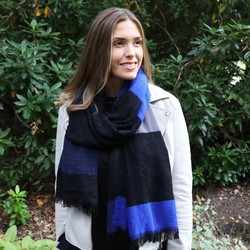 Cobalt Blue Chequered Scarf