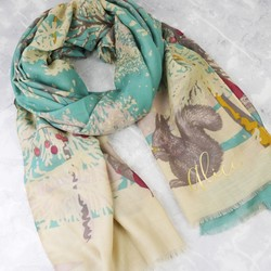 Personalised Powder Design 'Woodland Musicians' Print Scarf
