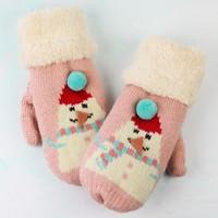 Children's Powder Design Snowman Mittens in Pink