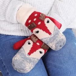 Powder Design Reindeer Mittens in Red