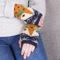 Power Design Reindeer Wrist Warmers in Mustard