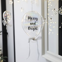 Hanging 'Merry and Bright' LED Glass Balloon Light
