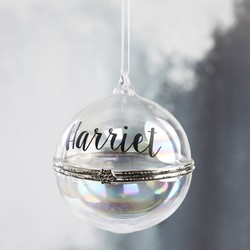 Personalised Secret Opening Iridescent Glass Bauble