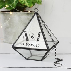 Personalised Sass & Belle Black Pyramid Hanging Terrarium