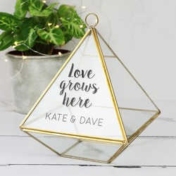 Personalised Sass & Belle Hanging Brass Pyramid Terrarium