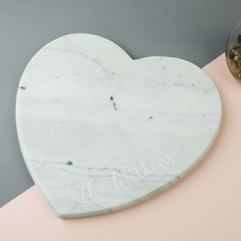 Personalised Sass & Belle Marble Heart Chopping Board