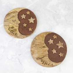 Personalised Sass & Belle Moon and Stars Wooden Coaster