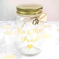 Personalised Sass & Belle 'Mr & Mrs Fund' Money Jar