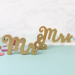 Gold 'Mr & Mrs' Standing Word Decorations