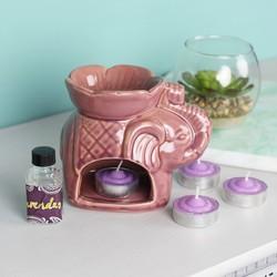 Ceramic Elephant Oil Burner with Lavender Fragrance Oil