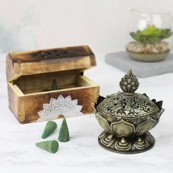 Wooden Incense Jasmine Cone Box and Metal Lotus Holder