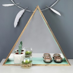 Wooden Triangle Mirror Shelf in Mint Green