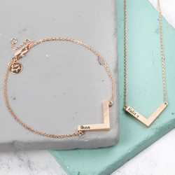 Personalised Chevron Jewellery Set in Rose Gold