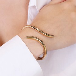 Twisted Gold Open Bangle