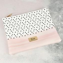 Personalised Pink and Polka Dot Wash Bag