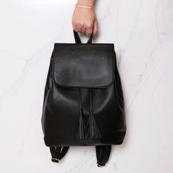 Black Fold Top Backpack
