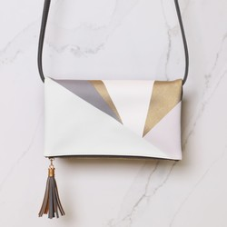 Grey and Block Colour Geometric Clutch Shoulder Bag
