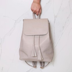 Stone Grey Fold Top Backpack