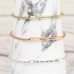 Personalised Beaded Bar Bracelet