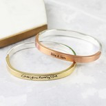 Personalised Mixed Metal Hinged Bangle