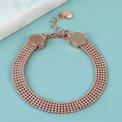 Ball Chain Disc Bracelet in Rose Gold