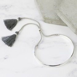 Dark Grey Tassel Bangle in Silver