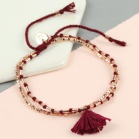Layered Tassel Friendship Bracelet in Plum & Rose Gold