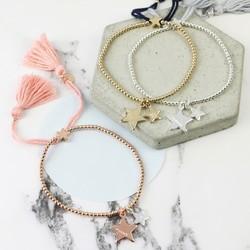 Personalised Double Star Dainty Links Friendship Bracelet