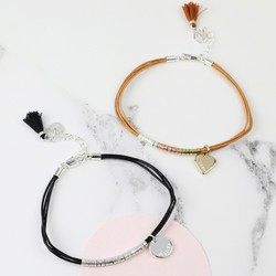 Personalised Leather Cord and Beads Bracelet