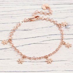 Snowflake Charm Bracelet in Rose Gold