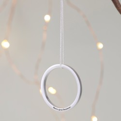 Personalised Geometric Hanging Circle Decoration in Silver