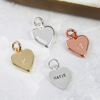Personalised Small Heart Bracelet Charm